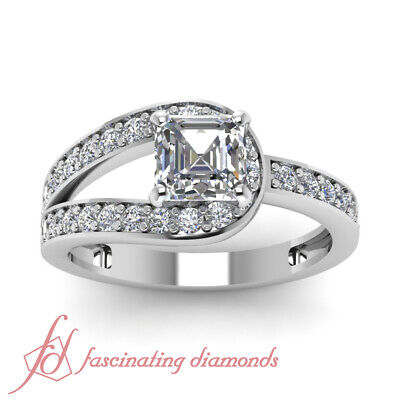 1.35 Ct Diamond Split Band Pave Set Ring With Asscher Cut And Round Accents GIA 1
