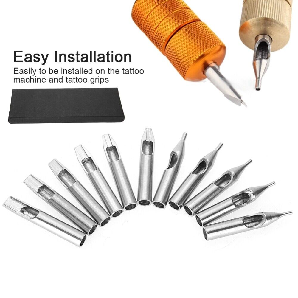 как выглядит 11pcs Stainless Steel Tattoo Nozzle Tips Needles Tube Grip Tip Kit Supply W/ Box фото