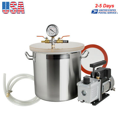 5 Gallon Stainless Steel Vacuum Degassing Chamber Silicone Kit W3 Cfm Pump Usa