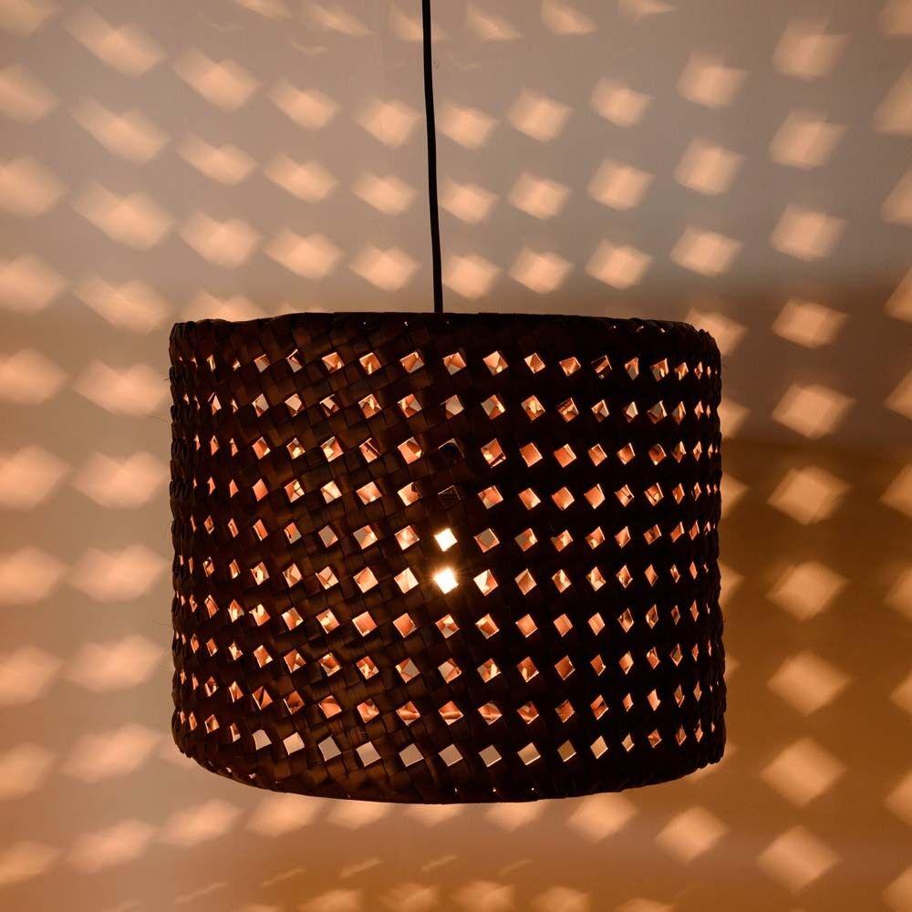 wohnfreuden Decken-Hängelampe LONTAR 40x30cm braun Lampenschirm Hänge-Leuchte