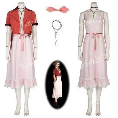 FF7 Final Fantasy VII Remake Aerith Costume Halloween Cosplay Fancy Dress