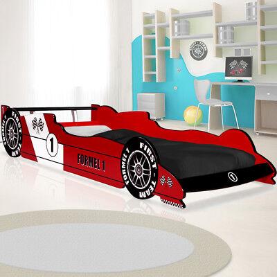 Jugend Rennen (Kinderbett Juniorbett Autobett Renn Spiel Jugend Bett 90x200 mit Lattenrost Rot)