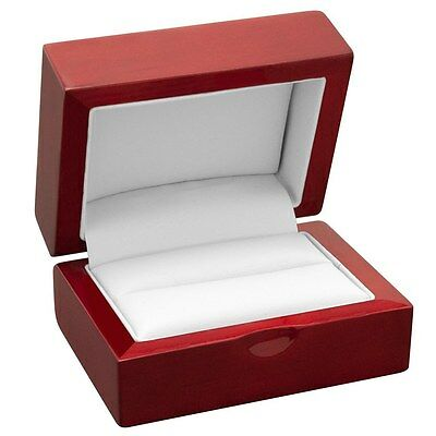 Rosewood Double Ring Wedding Engagement Bridal Jewelry Display Gift Box