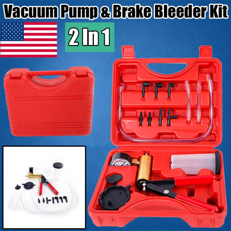 2 in 1 Brake Fluid Bleeder&Hand Held Vacuum Pistol Pump Tester Kit Car Motobike