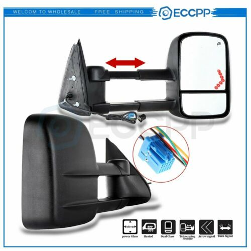 ECCPP Tow Mirrors Towing Mirrors Compatible with 1999-2002 Chevy Silverado GMC Sierra 1500//2500 with Left Right Side Power Control Heat LED Turn Signal Light with Black Housing