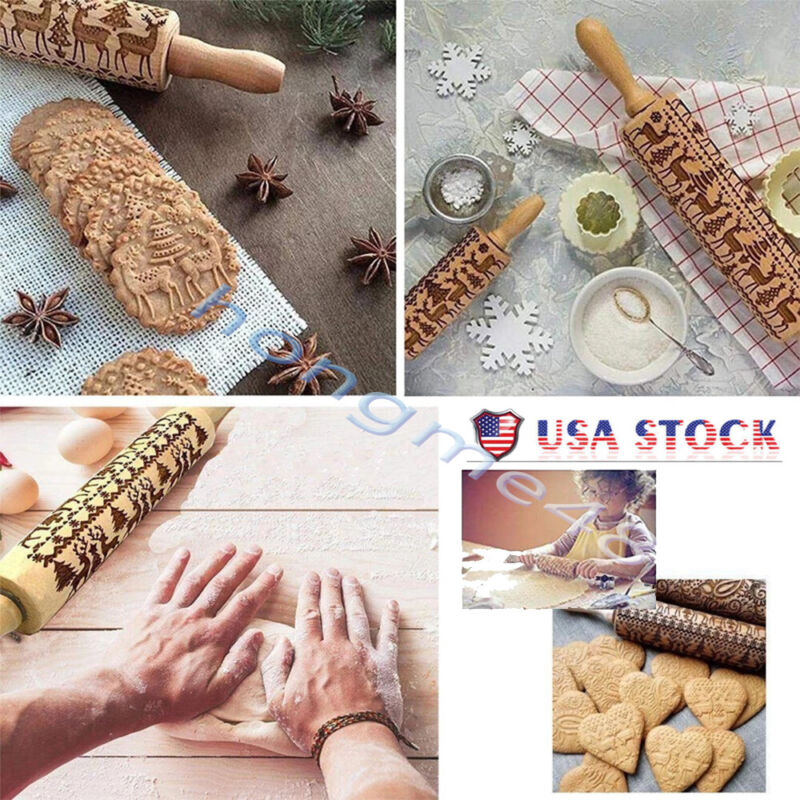 Christmas Pattern Wooden Rolling Pin Carved Wood Embossing G