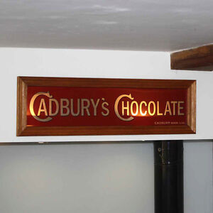 Cadbury Chocolate Mirror Vintage Style Advertising Sign, Wooden Framed Mirror