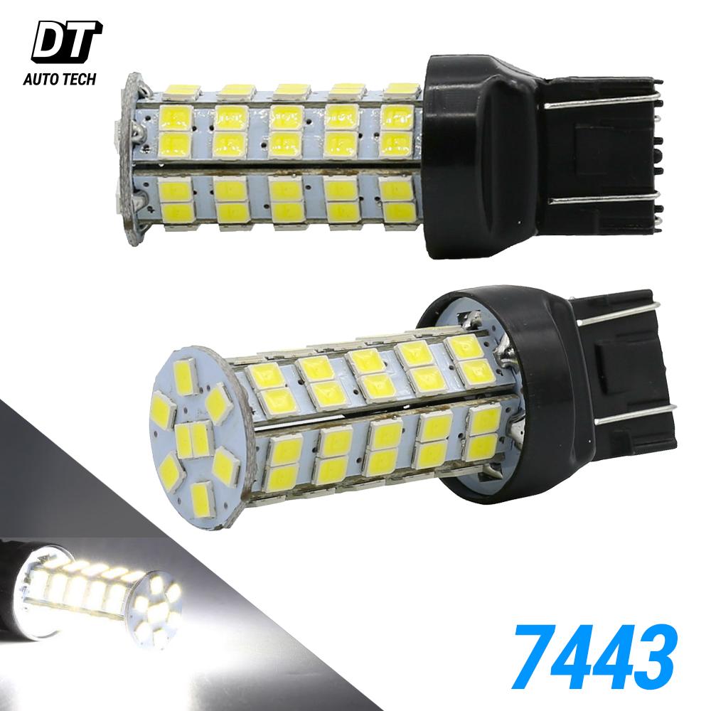7443 LED 6000K White Hi-Power 2000lm Reverse Brake Stop Tail Parking Light Bulbs