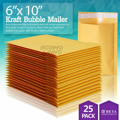25 0 6 X 10 6x9 Kraft Bubble Padded Envelopes Mailers Shipping Bag