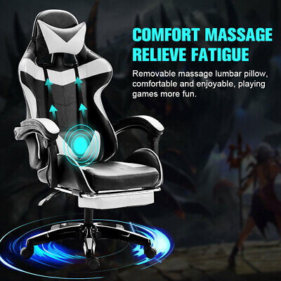 Swivel Racing Gaming Chair Wfootrest Executive Computer Desk Chair Massage Seat