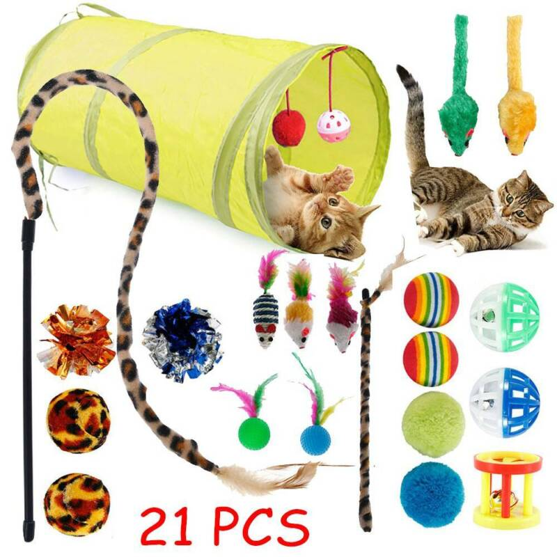 21x KatzenspielzeugSet Katzentunnel Faltbar Bällen Angel Mäusen Haustier Toy DE