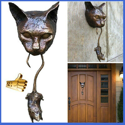 Cat And Mouse Ornament Rusty Brown Cast Iron Door Knocker 2021 NEW