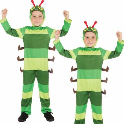 Kinder Hungrig Caterpillar Kostüm Jungen Mädchen Buch Tag Kostüm Outfit Neu
