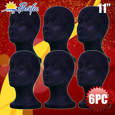 6pcs 11 Styrofoam Foam Black Velvet Mannequin Manikin Head Display Wig Hat