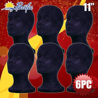 6pcs 11 Styrofoam Foam Black Velvet Mannequin Manikin Head Display Wig Hat