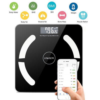 Bluetooth Smart Digital Scale Body Fat Muscel Weight Scales 180kg/400lb +Battery ()