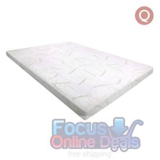 Cool Gel Memory Foam Mattress Topper w/ Bamboo Fabric Cover 8cm Q