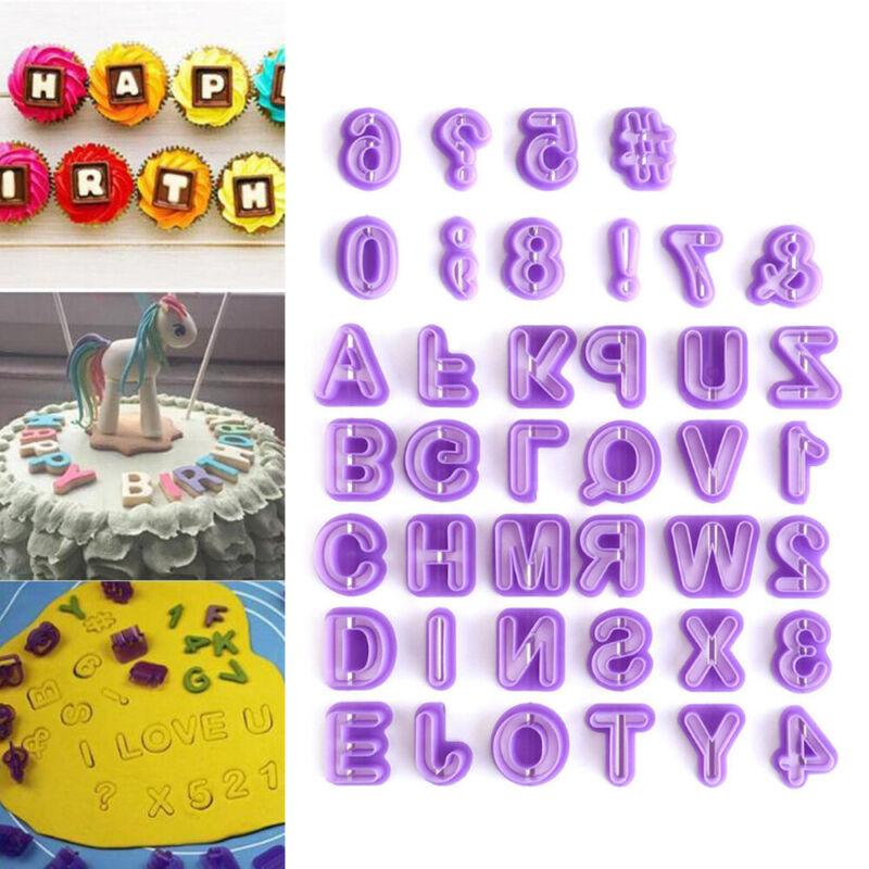 40X Buchstaben und Zahlen Ausstechformen Backzubehör Fondant Ausstecher Set