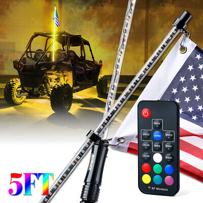 Xprite 5ft Remote Control LED Whip Light RGB with Flag for Offroad Jeep Can-am
