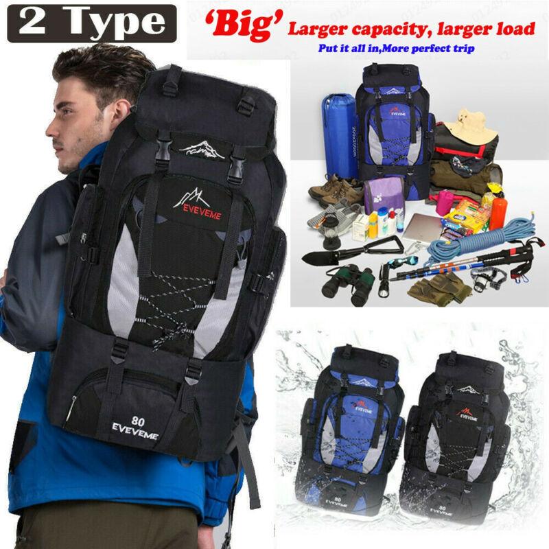 80L Outdoor Travel Hiking Camping Backpack Waterproof Rucksack Trekking Pack