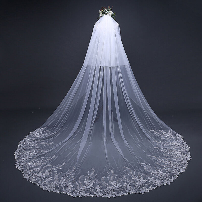 3.8m*3 /3m*3 Long Cathedral Wedding Veil with Comb Lace Sequins Hair Accessories