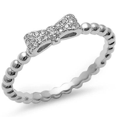 Ribbon Bow Cubic Zirconia  .925 Sterling Silver Ring Sizes 5-10