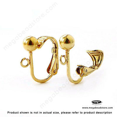 2 Pairs Gold over Sterling Silver Clip On Ear Wire Earring F24GP for sale  Shipping to India