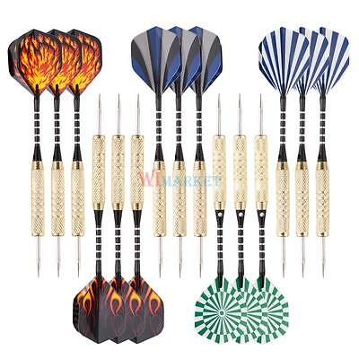 Steel Tip Darts Set (15 Pack) 18 Grams Shafts Brass Barrel Metal Tip PET Flights