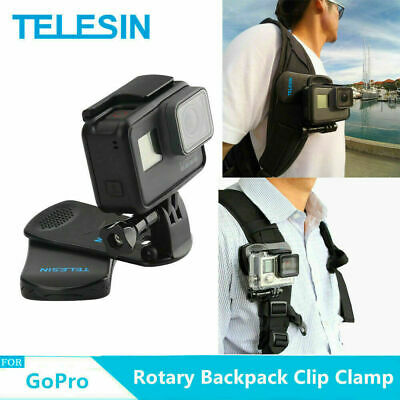 TELESIN Rotary Backpack Clip Clamp Mount for GoPro DJI Osmo Action Camera UKSHIP