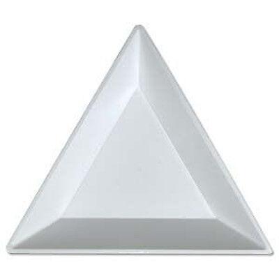 20 Bead Sorting Trays Triangle White Plastic 3x3x3 Inch