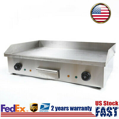 Electric Countertop Grill Griddle Flat Top Thermostatic Control Commercial Bbq