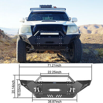 For 2005-2015 2nd Gen Toyota Tacoma Front Bumper Guard w/ Winch Plate, D-Rings