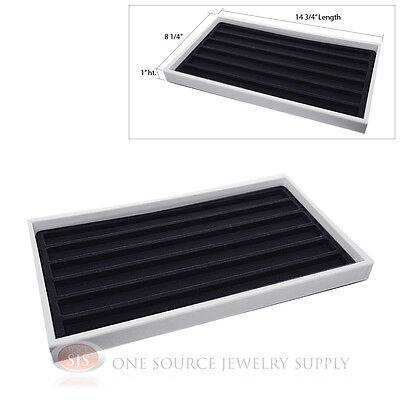 White Plastic Display Tray Black 6 Slot Liner Insert Organizer Storage