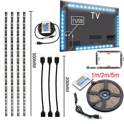 LED Strip Light USB Powered RGB Multi Color TV Backlight Lighting With Remote 5V