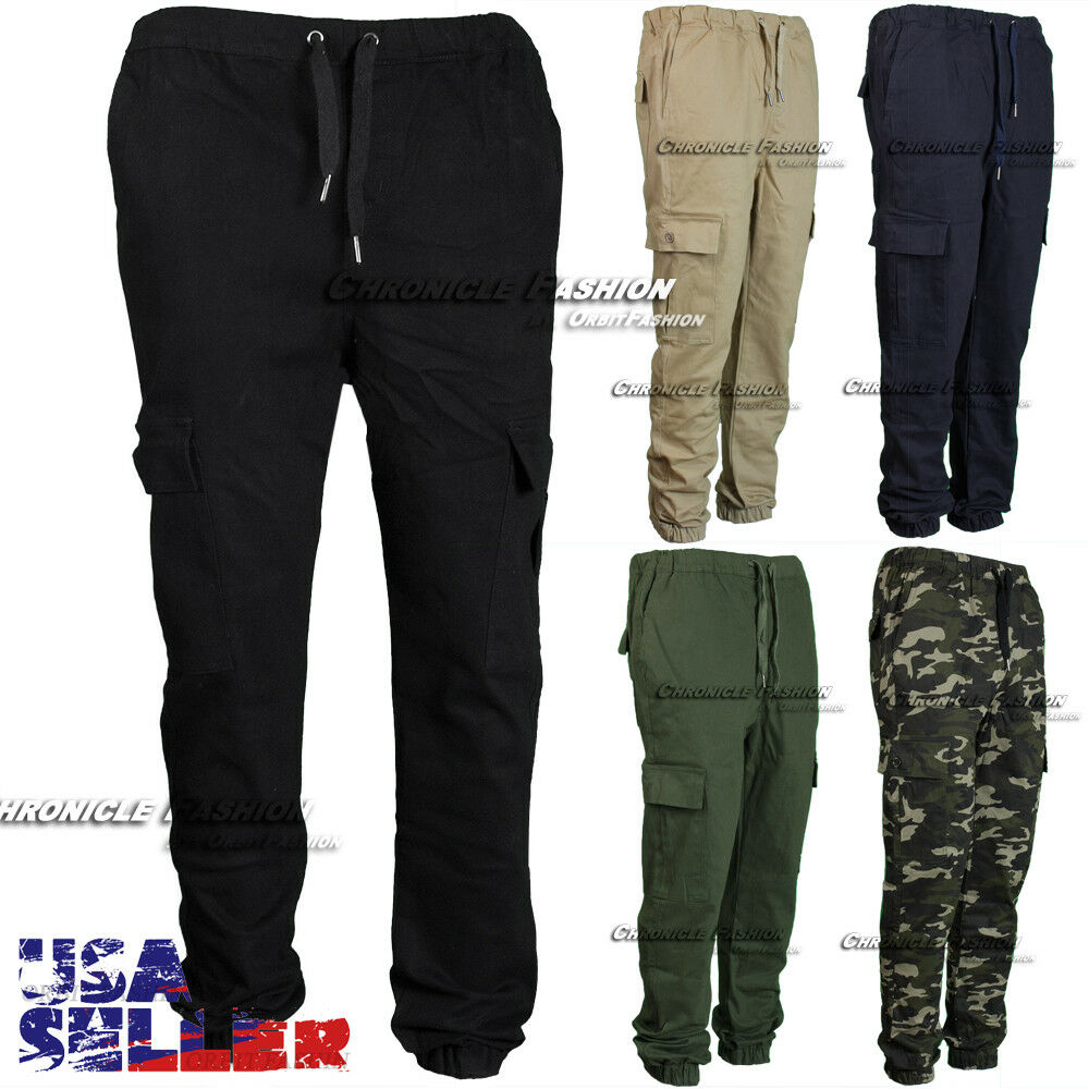 Mens Casual Pants Twill Cargo Pocket Jogger Trouser Stretch