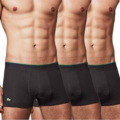 00712469 Lacoste Underwear Mens Essentials Supima Cotton 3 Pack Trunk, Boxer brief,  Black