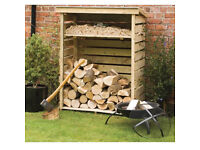 Rowlinson Small Log Store With Kindling Shelf Timber Container Garden Storage