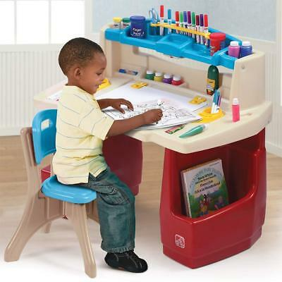 Kids Art Desk Toddler Creative Learning Little Drafting Table Childrens Crafts