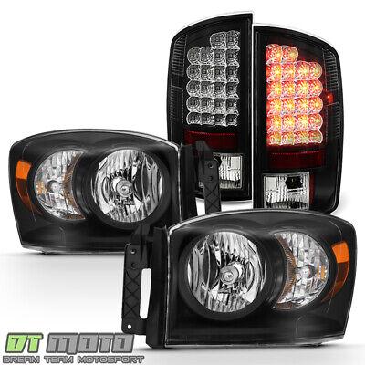 Black 2006 Dodge Ram 1500 Headlights+Lumileds Led Tail Lights Lamps