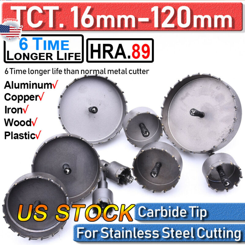 16/120MM Carbide Tip TCT Drill Bit Hole Saw Stainless Steel Metal Alloy Cutter