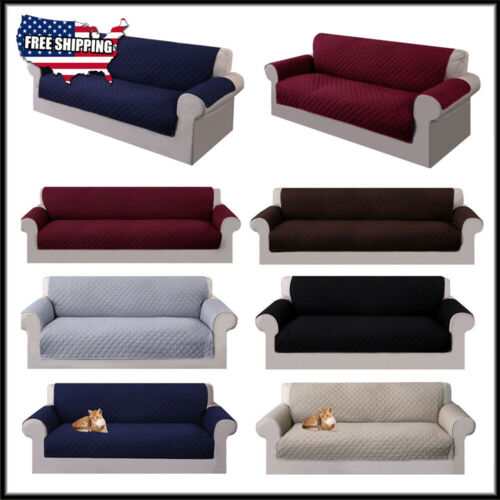 1-4 Seats Reversible Sofa Couch Cover Pet Dogs Cats Kids Mat