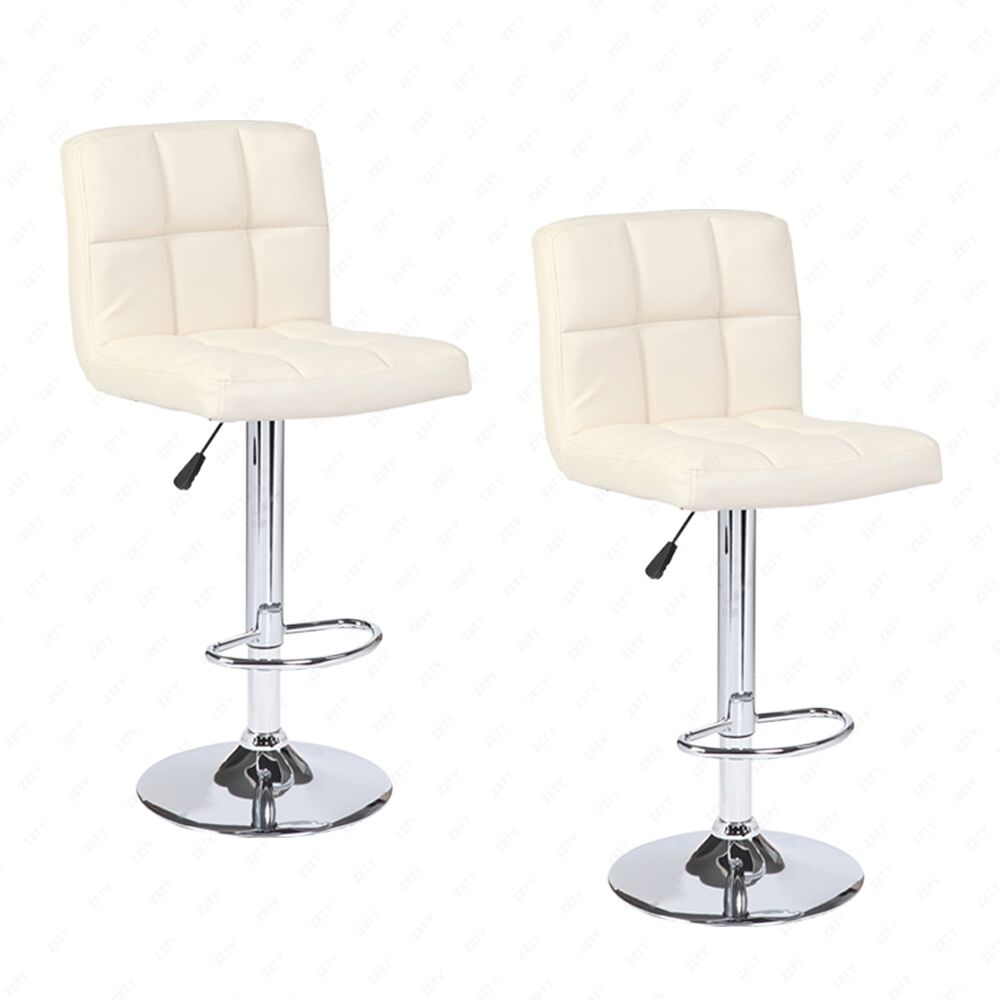 Adjustable Hydraulic Swivel Set Of 2 Bar Stool Leather Pub