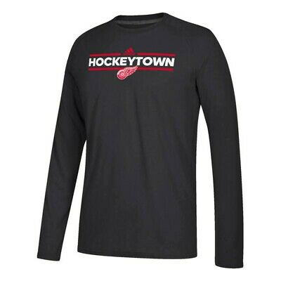 Detroit Red Wings NHL Adidas Black Dassler Local Climalite Long Sleeve T-Shirt