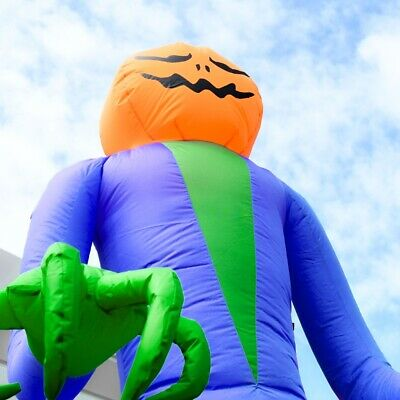 ALEKO Outdoor Yard Decoration Halloween Inflatable Ghost with Pumpkin Head 12 ft