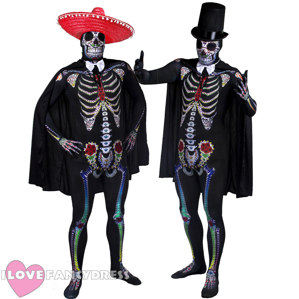 MENS DAY OF THE DEAD COSTUME SKELETON SKINSUIT SOMBRERO CAPE BOW TIE FANCY DRESS