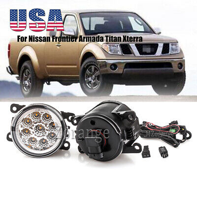 LED Fog Light Lamp w/ Bulb Wiring Switch For Nissan Frontier Armada Titan Xterra