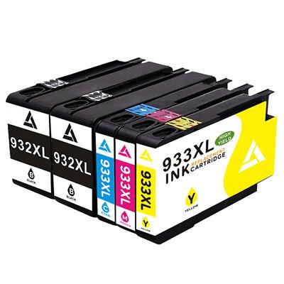 Format Tinte Gelb (5 x Tintenpatronen Compatibile für HP 932 933 XL 7110 7610 Wide Format ePrinter)