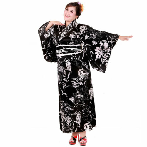Plus Size Japanese Woman Kimono Dress Blouse Samurai Robe Geisha Cosplay Costume