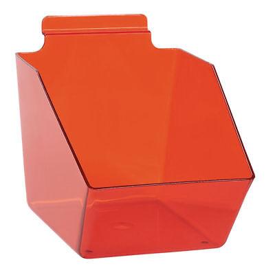 10 Slatwall Bins Dump Acrylic Red 7 L X 6 W X 5 Plastic Retail Display