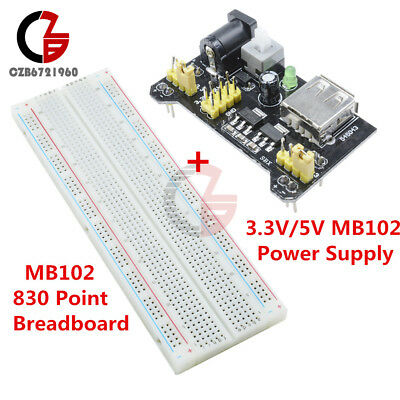 Mb102 Solderless Breadboard Pcb 830 Point Mb102 Power Supply Module 3.3v5v
